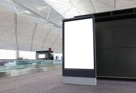 billboard posting: Blank Billboard in airport at hong kong