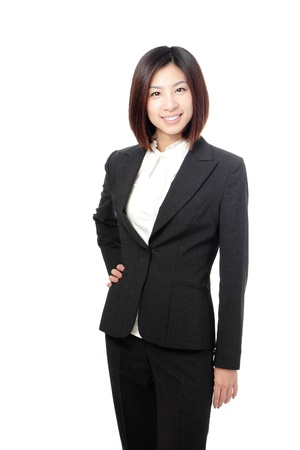 Beautiful Business woman confident smile portrait isolated on white background, model is a asian beauty Stock Photo - 12209138