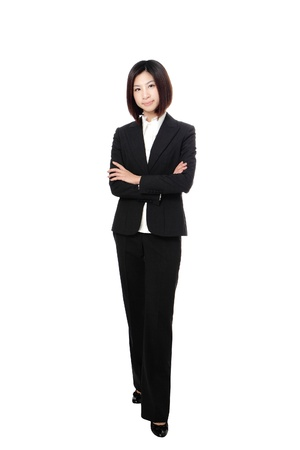 body work: Full length Business woman confident smile standing isolated on white background, model is a asian beauty