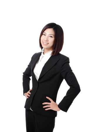 Beautiful Business woman confident smile portrait isolated on white background, model is a asian beauty