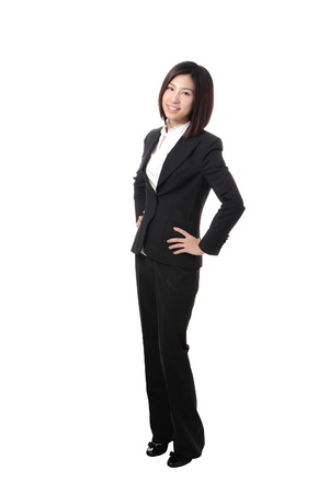 business woman standing: Full length Business woman confident smile standing isolated on white background, model is a asian beauty