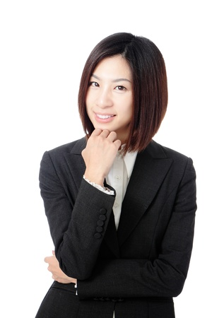 Beautiful Business woman confident smile portrait isolated on white background, model is a asian beauty photo