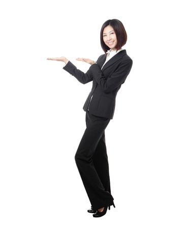 introducing: Full length Business woman introducing something by hand isolated on white background, model is a asian beauty