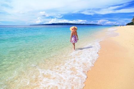 boracay: beautiful girl at the beach with sunny sky, cloud shot in Boracay  Philippines Stock Photo