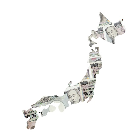 Japan Map made by Japanese Yen currency photo