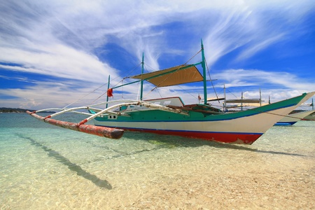 yellow boats: Traditional Philippines boat, shot in Boracay  Philippines