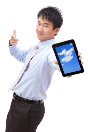 Business man show tablet pc with smile (tablet pc screen display sky and cloud), for cloud computing concept Stock Photo - 12209346
