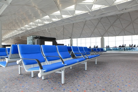row of blue chair at airport in Hongkong