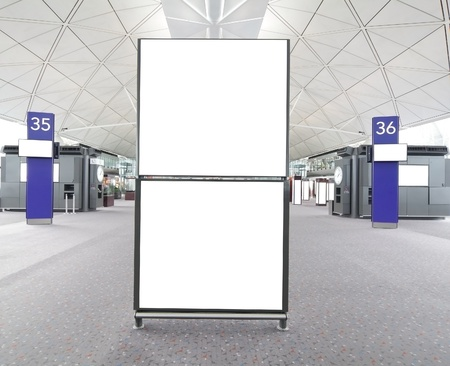 empty billboard at a international airport
