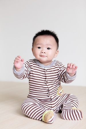 Portrait of cute baby, baby is a cute asian child photo