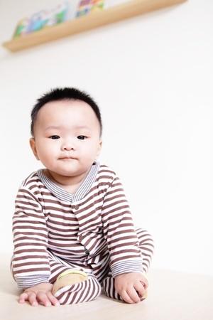 Closeup portrait of a baby boy , a asian child photo
