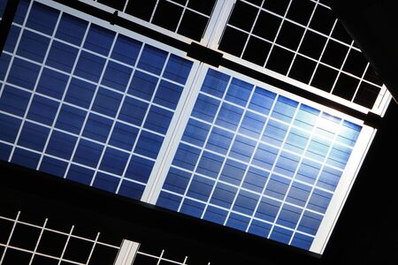 Close up of solar panel with sunshine photo
