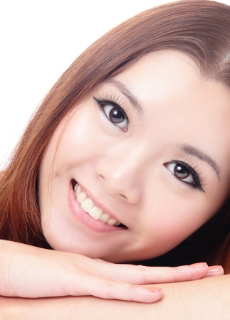 close up Face of Asian female smiling on white background Stock Photo - 12209031