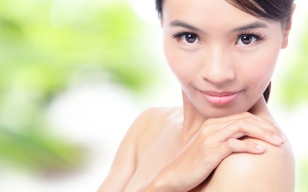 Beautiful Healthy Young Woman with nature background, model is a asian beauty photo