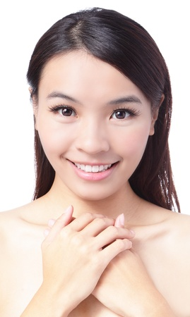 Portrait of beautiful girl  smile face - white background, model is a asian beauty Stock Photo - 12209037