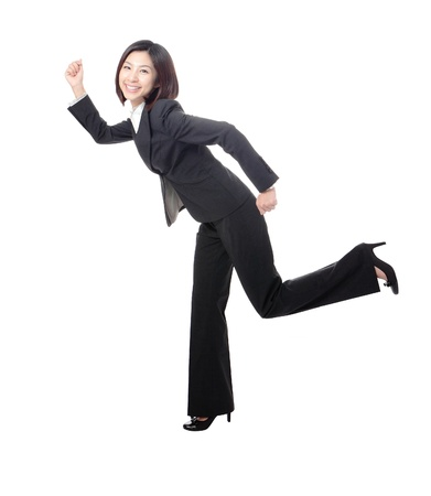 young business woman running, isolated on white background, model is a asian beauty photo
