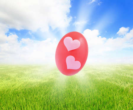 Easter eggs on grass with blue sky and cloud background photo