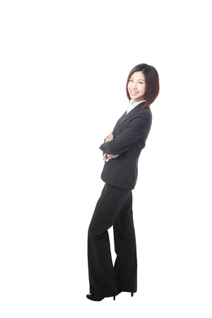 Full length Business woman confident smile standing isolated on white background, model is a asian beauty Stock Photo - 12527921