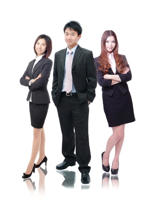 business team formed of young business men and business women standing over a white background