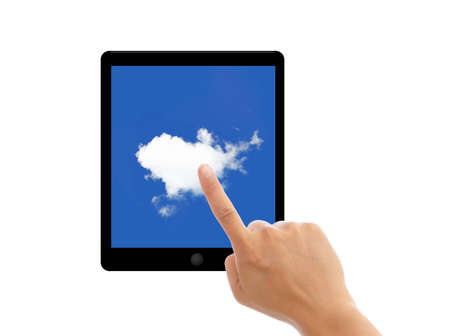 Hand finger point on contemporary tablet pc with cloudscape on screen. Concept on cloud computing. Isolated on white. photo