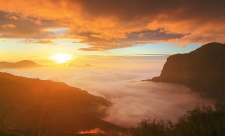 formosa: dramatic Clouds rolling over mountains at sunset shot in taiwan formosa asia Stock Photo