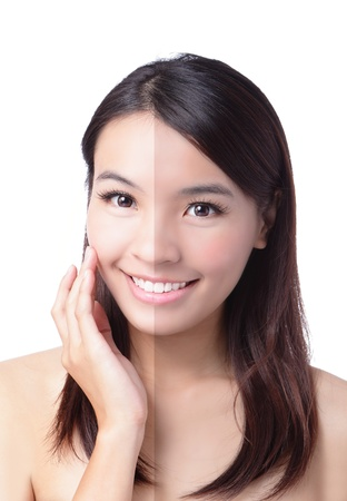 Woman face with half tan skin (before and after) isolated on white background. Beautiful asian woman portrait, Imagens