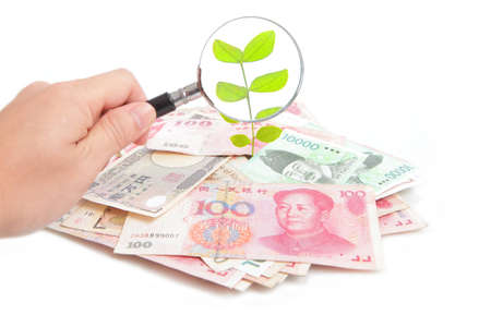 commercial tree care: check green plant growing up from money (Asian money include china, japan, hong kong, korea, taiwan) Through a Magnifying Glass.