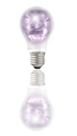 Lamp bulb with Heavy clouds bringing thunder, lightnings and storm inside. Natural energy concept photo