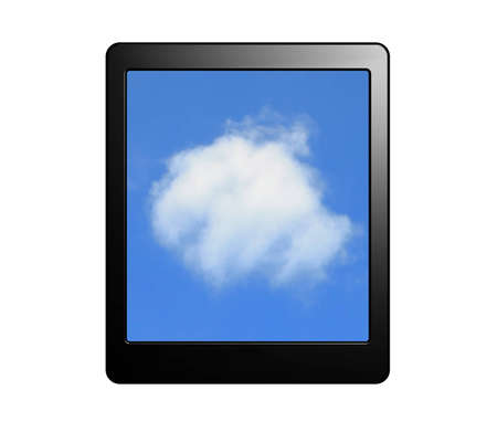 tablet pc with cloud screen for Cloud computing concept isolated on white background Stock Photo - 12529540