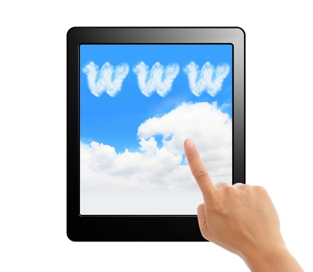 Tablet pc with hand finger and www cloud sky screen for cloud computing concept isolated on white background Stock Photo - 12529561