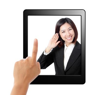 태블릿 컴퓨터 및 비즈니스 비서 화면에 들어요. 흰색 배경에 고립. 개념 음성을 사용하는 태블릿 PC에 스톡 콘텐츠