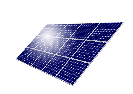 Solar Panel System with sun reflection isolated on white background photo