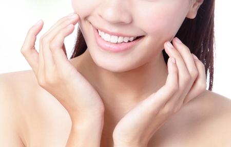 sonrisa: Primer plano de una boca sonriente de la chica, el modelo es una belleza asi�tica