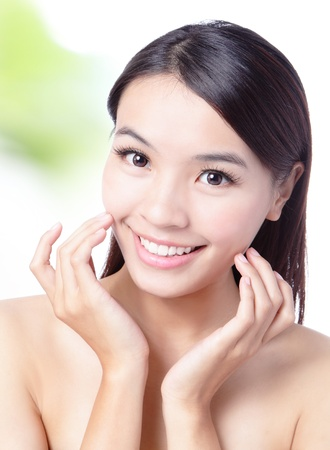 close up of Beauty woman Face and hand touch her face with green background for skin care concept, model is a beautiful asian girl Stock Photo - 12759321