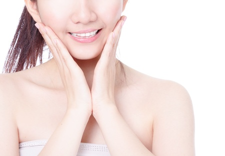 Close up of girl mouth with sweet smile and hand finger touch face isolated on white background, model is a asian beauty photo