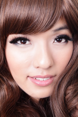close up of beautiful woman hair style with smile face, model is a asian Stock Photo - 13188885