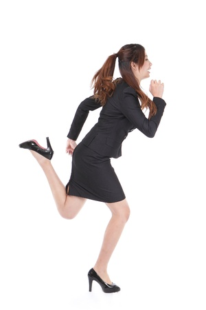Running Business woman in full length isolated on white background, model is a asian beauty photo
