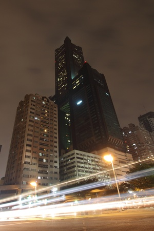 traffic in city at night shot in formosa taiwan kaohsiung,  Stock Photo - 13188040