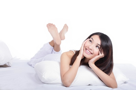 Smile asian girl lying on bed and look up forward to a white copy space in the morning Stock Photo - 13224271