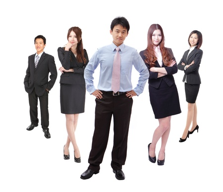 Business man and woman group in full length isolated on white background, model are asian people photo