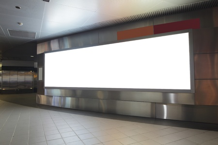 Blank billboard in the city building, shot in subway station, white empty copy space is great for user photo