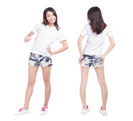 Young beauty girl with blank white shirt, ready for your design or logo, model is a asian woman Stock Photo - 13577936