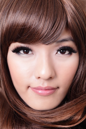 closeup portrait of a beautiful young woman with brown hair,  hairstyle , model is a asian beauty Stock Photo - 13578002