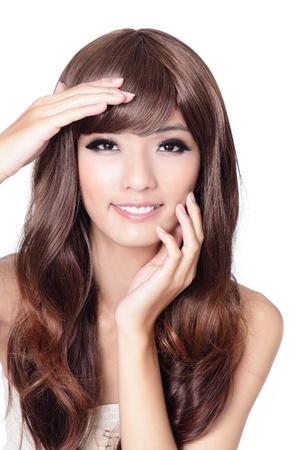 Schöne asiatische Frau Hand berühren ihr Gesicht isoliert auf weißem Hintergrund, ist das Modell eine asiatische Schönheit Standard-Bild - 13577997
