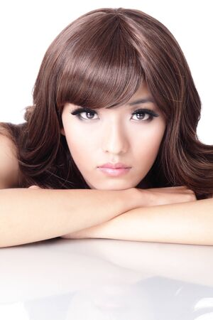Fashion woman face portrait close up with white background, model is a asian beauty photo