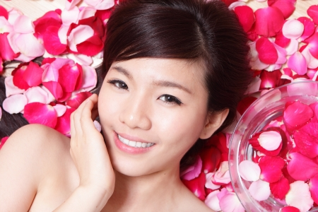 Asian beauty Girl smiling face with red rose concept for health skincare photo