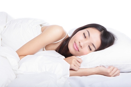 sleeping face: Sleep Girl on bed in the morning, model is a asian beauty