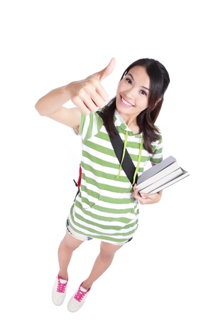 girl student thumbs up hand gesture with great smile in full length and high angle view isolated on white background, model is a asian woman