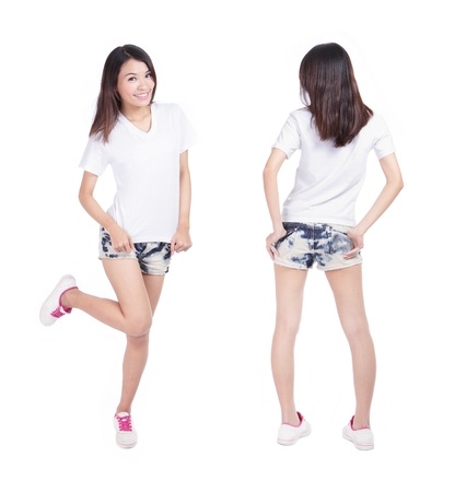 girl shirt: Young beauty girl show blank white shirt in full length, empty copy space in the image is ready for your design or logo, model is a asian woman Stock Photo