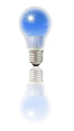 Lamp bulb with solar panels  Conceptual image  Environmental metaphor  photo